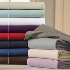 "Luxurious Soft 400TC 100% Egyptian Cotton  4PC Sheet Set Solid 30"" Deep Pocket"
