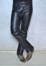 leather jeans pant biker classic bootcut cowboy rodeo rider 501 style