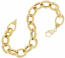 QVC Polished All Shiny Oval Rolo Link Bracelet Real 14K Yellow Gold