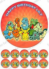 POKEMON GO Large Cake Topper Edible Icing Birthday Personalised PARTY +10