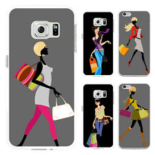 FASHION SHOPPING GIRL PRINT PHONE CASE COVER FOR IPHONE 5C 7 PLUS SAMSUNG SUPERB