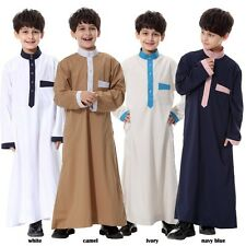 Boys Girls Saudi Thobe Thoub Robe Daffah Dishdasha Islamic Arabian Kaftan Cloth