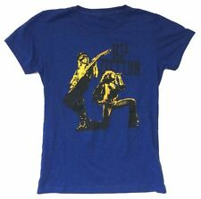 Led Zeppelin Duo Page Plant Image Girls Juniors Blue T Shirt New Official