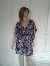 DEBENHAMS FLORAL TUNIC TOP/BEACH COVER UP/DRESS SIZE 14 BNWOT EMBELLISHED