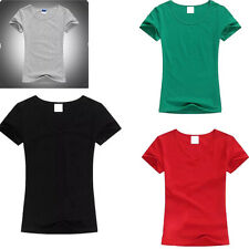 Womens Solid Color T Shirt O-neck Ladies T-Shirt Color Tops Short Sleeve Tops
