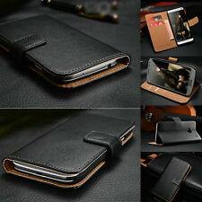 Classic Luxury Genuine Real Leather Flip Stand Wallet Case Cover For HTC Phones