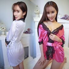 Sexy Nightdress Satin Lace Kimono Women's Sleepwear Lingerie Dressing Gown Robe