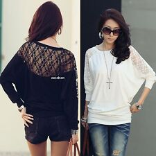 Ladies Lace Shirt Floral Batwing Long Sleeve Loose Blouse Embroidery T-shirt Top