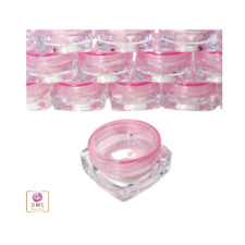 50 Small Square Cosmetic Containers Lip Balm Jars Pot Pink Lid 3 Gram | 3043