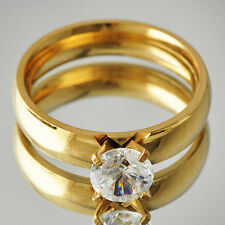 Classic Womens gold filled Crystal Smooth Wedding Band Ring Size 6-9
