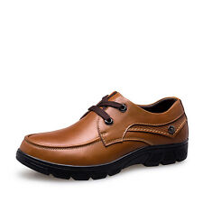 GOMNEAR Men Big Size Genuine Leather Shoes Oxfords Walking Dress Casual Shoes