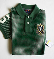 $70 NWT Mens Tommy Hilfiger Green Striped Slim Fit Mesh Patch Rugby Polo Shirt M