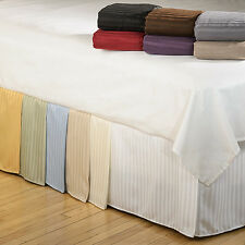 "800TC 100% Egyptian Cotton 1PC Split Corner Bed Skirt Striped 9""Drop Length."