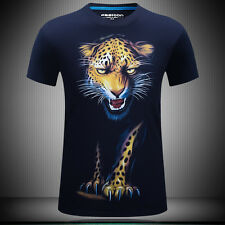 New Type Men's 3D Leopard Printed T-shirt Short Sleeve Tops Graphic Casual Tee