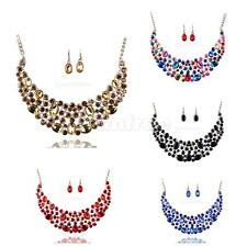 Elegant Exaggerated Bridal Wedding Party Crystal Necklace Earrings Jewelry Set
