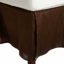 1 QTY Bed Skirt  Egyptian Cotton 1000 TC Drop 15 Inch Chocolate Stripe
