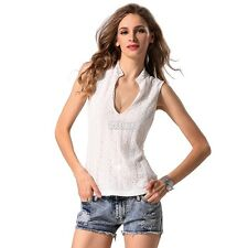 Finejo Ladies Women Sexy V-Neck Lace Floral Sleeveless Tops Casual Basic B5UT