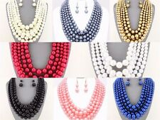 Multi Strand 5 Row Pearl Jewelry Bead Chunky Necklace Earring Set Formal Casual