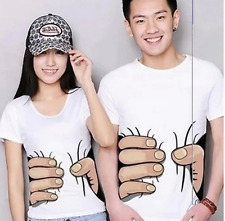 Unisex Men&Womens Big Hand Printed Funny Catch You Cotton Short Sleeve T-shirt