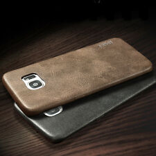 Luxury Vintage Ultra-thin Back Leather Case Cover Skin For iPhone Samsung Galaxy