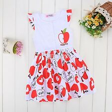 Fashion Summer Kids Girls Short Sleeve High Waist Dress O-Neck Splice Print B5UT
