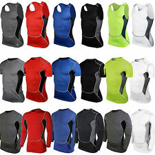 Mens Compression Skin Tight T Shirt Base Layer Thermal Under Sports Fitness Tops