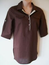Womens Tunic Blouse Shiirt Sizes 14 16 Nw Ladies Kaleidoscope Brown Linen Cotton