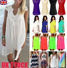 Womens Summer Boho Mini Dress Ladies Chiffon Casual Beach Short Sundress S-XXXL