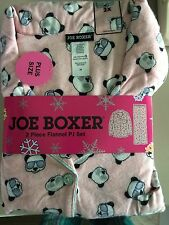 NEW Joe Boxer Womens Pajamas Flannel 2 Piece Set 1x 2x Pink Plaid PJs Bears