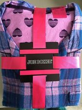 NEW Joe Boxer Womens Pajamas Flannel 2 Piece Set M L Blue Plaid Purple Hearts