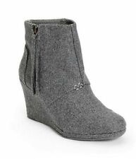 NEW W/OUT BOX WOMENS 10 TOMS DESERT WEDGE HIGH GREY WOOL HEELS BOOTS BOOTIES