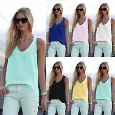 #Womens Summer Vest Sleeveless V Neck Blouse Ladies Casual Tank Tops Shirts Tee