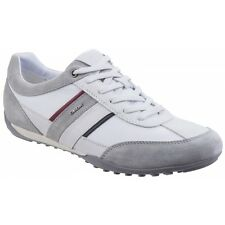 GEOX WELLS Mens Soft Suede Lace Up Comfort High Grip Sports Trainers Shoes White