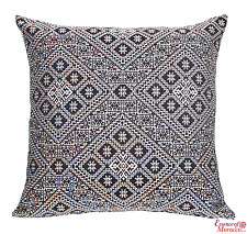 Moroccan Cushion Handmade Square Black Authentic Fes Design 55 cm x 55 cm