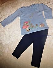 MONSOON BABY GIRLS OLIVIA SQUIRREL HEDGEHOG BLUE TOP & LEGGINGS SET AGE 0-3 YEAR