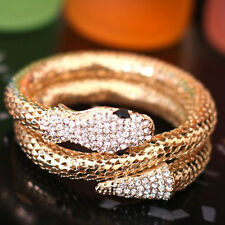 Women Vintage Punk Rhinestone Curved Jewelry Snake Cuff Bangle Bracelet Healthy
