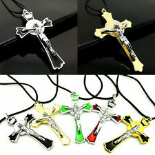 Fashion Unisex Stainless Steel Jesus Crucifix Cross Pendant Necklace Chain Gift