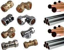 Chrome Plated Pipe Compression Fittings Straight Elbow Copper Tee Stop Valve 15