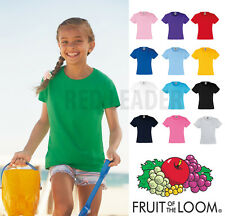 Fruit of the Loom Girls Kids Valueweight T Shirt Top Tee School Fashion SS005