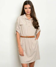 New Spring Summer Khaki Belted Trench Safari Casual Work Party Shirt Dress S M L