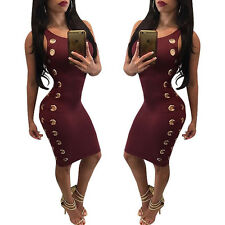 Wine Red Sexy Grommet Lace up Bandage Bodycon Dress Cocktail Ladies Clubwear