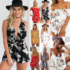 2017 Womens Summer Holiday Mini Playsuit Ladies Jumpsuit Beach Dress Shorts