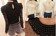 Ladies' Elegant Pretty Long Sleeves Lace Blouse Pearl Elements