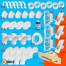 New Central Vacuum White 3-Inlet Installation Kit and Almond Vacpan