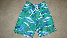 NWOT OLD NAVY BOY'S 12/18 MONTHS GREEN w/ SHARKS SWIM TRUNKS