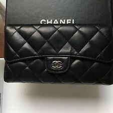 CHANEL Authentic Classic Black Lambskin Trifold Flap Wallet  Made in France