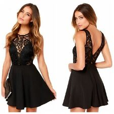 Sexy Women Floral Black Lace Backless Evening Party Prom Cocktail Mini Dress