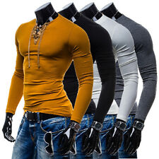Stylish Mens Long Sleeve T shirt Casual Shirts Slim Fit V-Neck Muscle Tops Tee