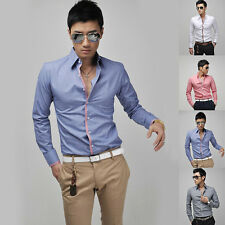 Men Front Button Solid Long Sleeve Slimed Fit Casual Dress Business Shirts New