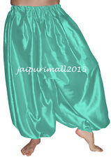 Turquoise Belly Dancing Satin Harem Pants Yoga Genie Aladdin Harem Trouser Pants